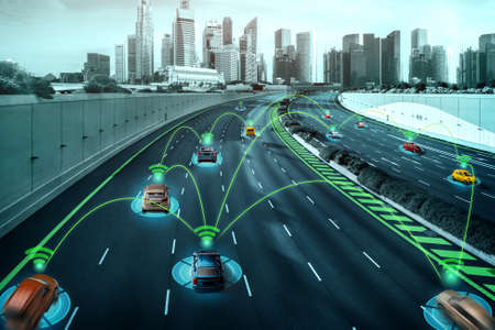 Photo pour Autonomous car sensor system concept for safety of driverless mode car control . Future adaptive cruise control sensing nearby vehicle and pedestrian . Smart transportation technology . - image libre de droit