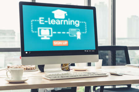 Foto de E-learning and Online Education for Student and University Concept. Video conference call technology to carry out digital training course for student to do remote learning from anywhere. - Imagen libre de derechos