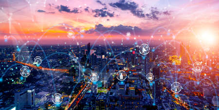 Photo pour Advanced communication and global internet network connection in smart city . Concept of future 5G wireless digital connecting and social media networking . - image libre de droit