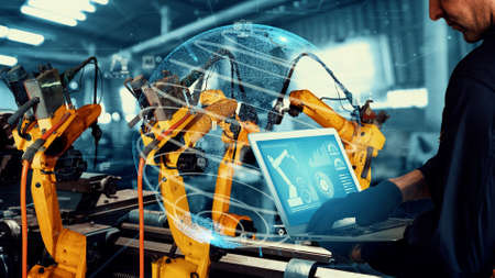 Photo pour Smart industry robot arms modernization for digital factory technology . Concept of automation manufacturing process of Industry 4.0 or 4th industrial revolution and IOT software control operation . - image libre de droit