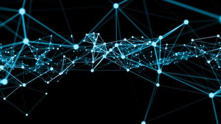 Photo pour Wave of connection network dots of innovative creation . Concept of future communication computer networks . 3D rendering . - image libre de droit