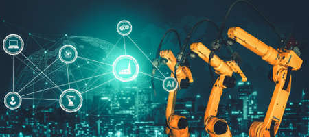 Photo pour Smart industry robot arms for digital factory production technology showing automation manufacturing process of the Industry 4.0 or 4th industrial revolution and IOT software to control operation . - image libre de droit