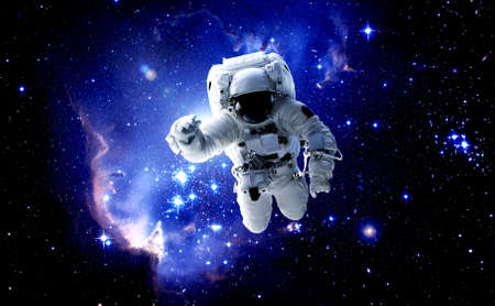 Photo pour Astronaut spaceman do spacewalk while working for space station in outer space . Astronaut wear full spacesuit for space operation . Elements of this image furnished by NASA space astronaut photos. - image libre de droit