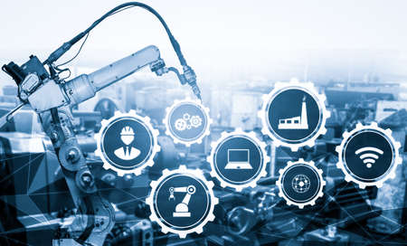 Foto für Smart industry robot arms for digital factory production technology showing automation manufacturing process of the Industry 4.0 or 4th industrial revolution and IOT software to control operation . - Lizenzfreies Bild