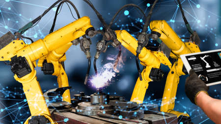 Photo pour Smart industry robot arms modernization for innovative factory technology . Concept of automation manufacturing process of Industry 4.0 or 4th industrial revolution and IOT software control operation. - image libre de droit