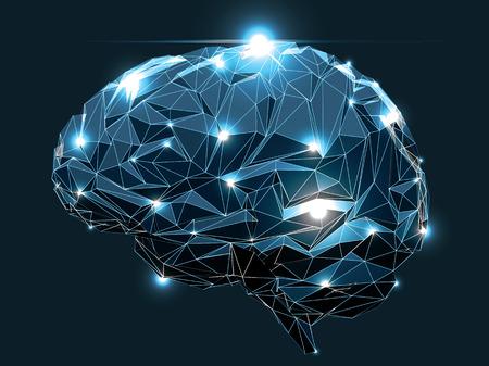 Illustration pour Concept of an Active Human Brain on a Dark Background - image libre de droit