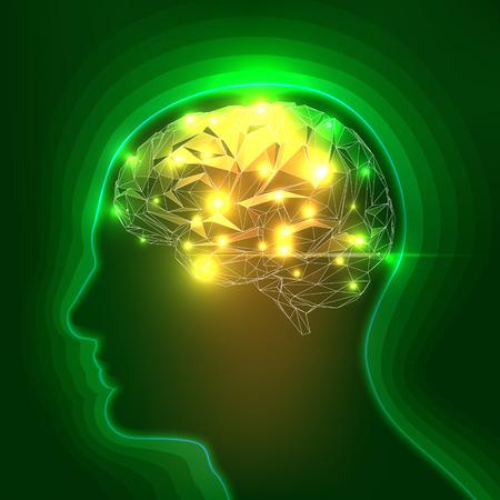 Foto de Abstract Human Head Silhouette with a Brain. Stock Vector Illustration - Imagen libre de derechos