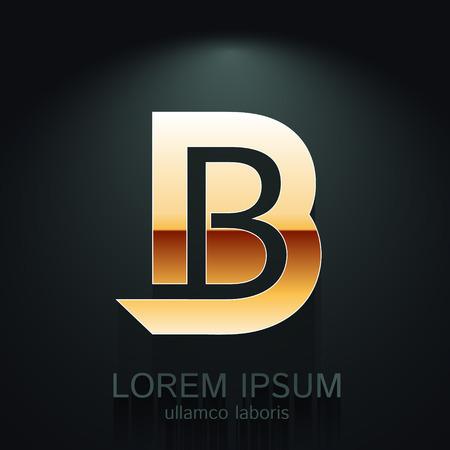 Vector Gold Letter B Shape Logo Element on Dark Background