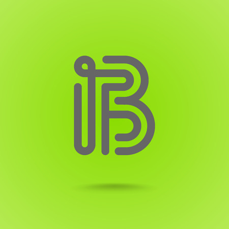 Vector Graphic Font Logo Element. Letter B on Green Background