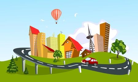 Illustration pour Colorful abstract city. art - image libre de droit