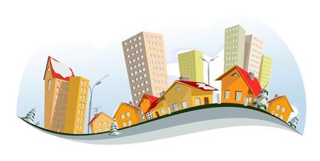 Illustration pour city - winter . art - image libre de droit