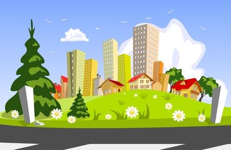 Illustration pour Colorful abstract vector city . Vector art - image libre de droit
