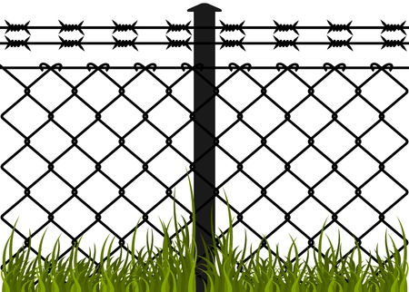 Wire fence with barbed wires  Vector illustration
