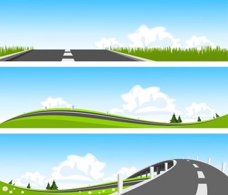 Illustration for BANNER - Way through nature. Vector - Royalty Free Image