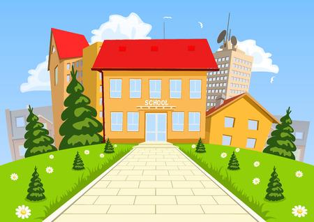 Illustration pour Vector cartoon modern school building - image libre de droit