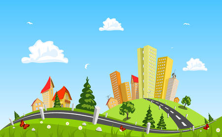 Illustration pour Urban landscape vector illustration - image libre de droit