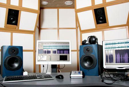 work place of audio engineer of professional audio studio