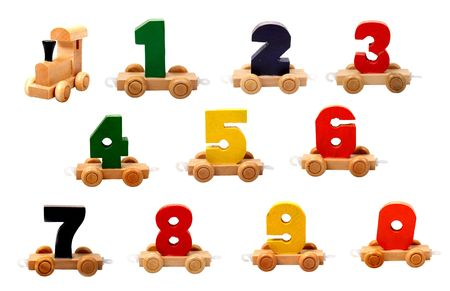 isolated educational wooden toy cars with numbers from nil to nine