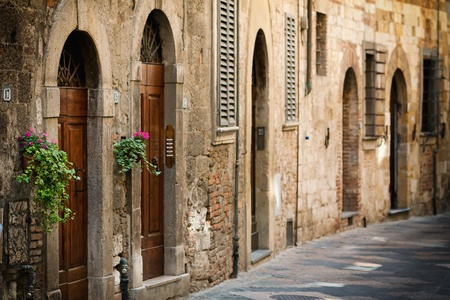 Street with the door in the Italian Tuscany