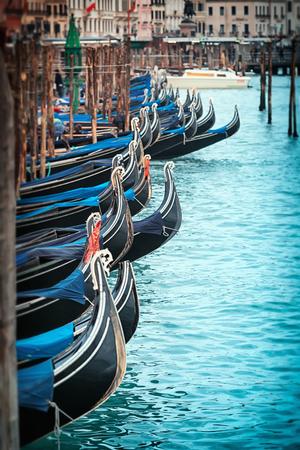 Beautiful gondolas in Venice Italy