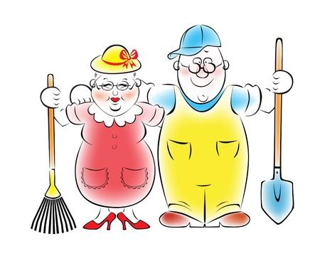 Illustration of an elderly couple who love to garden and vegetable garden