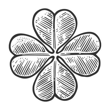 Illustration pour Good luck four leaf clover. Vintage vector engraving illustration for info graphic, poster, web. Black on white background. - image libre de droit