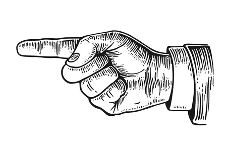 Illustration pour Pointing finger.  Vector black vintage engraved illustration isolated on a white background. Hand sign for web, poster, info graphic - image libre de droit