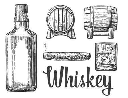 Whiskey glass with ice cubes barrel bottle cigar. Vector vintage illustration.  white background.
