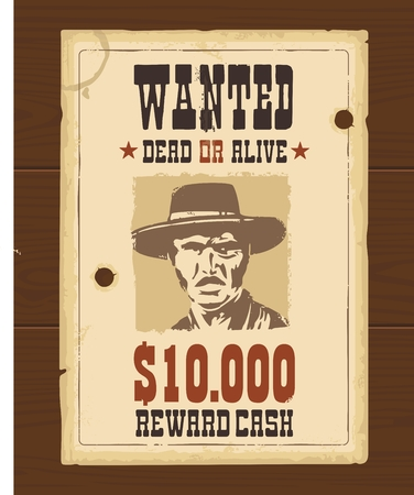 Illustration for Vector Vintage western retro Wanted Poster template. Old paper texture dark on wood surface - Royalty Free Image