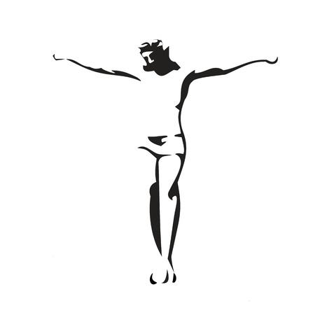 Jesus Christ crucified. Vector black illustration on white background.