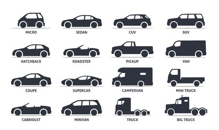 Ilustración de Car Type and Model Objects icons Set, automobile. Vector black illustration isolated on white background with shadow. Variants of car body silhouette for web. - Imagen libre de derechos