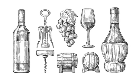 Wine set. Bottle, glass, corkscrew, barrel, bunch of grapes. Black vintage engraved vector illustration isolated on white background. For label poster, web.