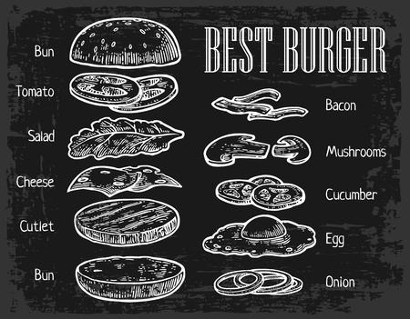 Illustration pour Burger ingredients on chalkboard. Isolated painted components on black background. Vector vintage engraving Illustration for poster, menu, web, banner, info graphic - image libre de droit
