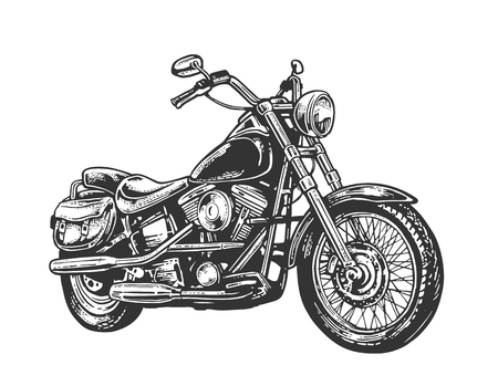 Ilustración de Motorcycle. Side view. Hand drawn classic chopper bike in engraving style. Vector vintage illustration isolated on white background. For web, poster, t-shirt, club. - Imagen libre de derechos