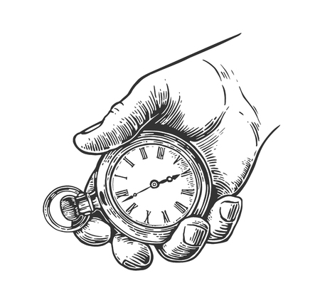 Ilustración de Male hand holding antique pocket watch. Vector vintage engraving illustration. Isolated on white background. - Imagen libre de derechos
