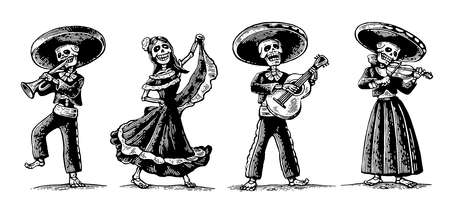 Illustration pour Day of the Dead, Dia de los Muertos. The skeleton in the Mexican national costumes dance, sing, play the guitar, violin, trumpet. Vector vintage engraving for poster, label. Isolated white background - image libre de droit