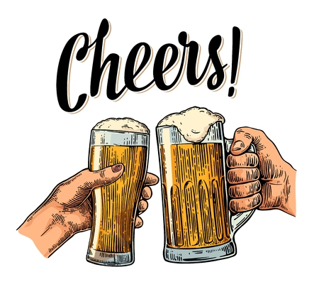 Female and male hands holding and clinking with two glasses beer. Cheers toast lettering. Vintage vector color engraving illustration for web, poster, invitation to party. Isolated on white background