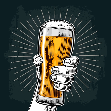 Illustration for Male hand holding a beer glass. Vintage color vector engraving illustration for web, poster, invitation to party or festival. Isolated on dark background - Royalty Free Image