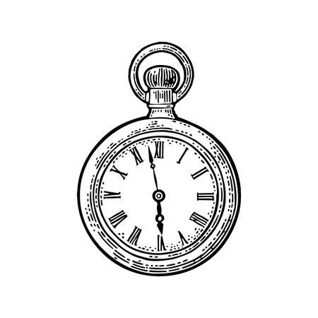 Ilustración de Antique pocket watch. Vintage vector black engraving illustration for info graphic, poster, web. Isolated on white background. - Imagen libre de derechos