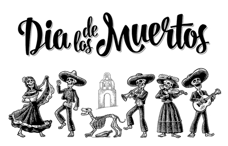 Illustration pour Day of the Dead. The skeleton in Mexican national costumes dance, play the guitar, violin, trumpet. Dia de los Muertos lettering. Vintage vector black engraving illustration isolated white background - image libre de droit