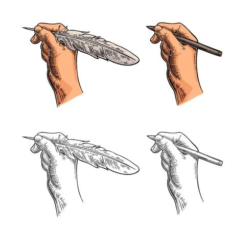 Illustration pour Female hand holding a goose feather and pencil. Vector color vintage engraving - image libre de droit