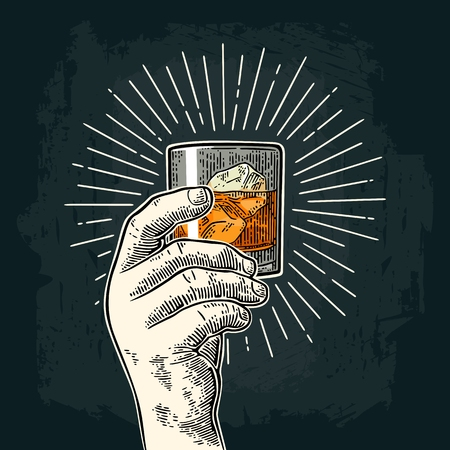 Illustration pour Male hand holding glass whiskey with ray. Vintage vector engraving - image libre de droit
