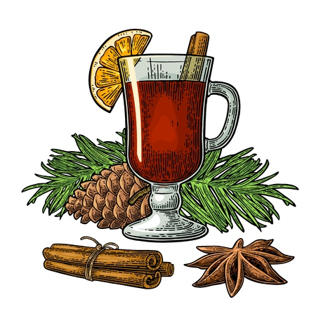 Mulled wine with glass and ingredients.
