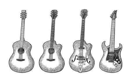 Illustration pour Acoustic and electric guitar. Vintage vector black engraving illustration for poster, web. Isolated on white background. - image libre de droit