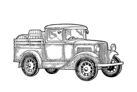 Ilustración de Retro pickup truck with wood barrel. Side view. Vintage black engraving illustration for poster, web. Isolated on white background. - Imagen libre de derechos