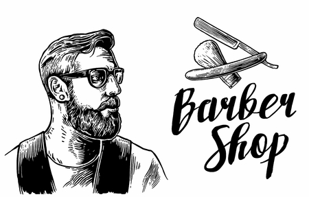 Ilustración de Hipster shave haircut services in the barber shop. Black and white vector illustrations and typography elements. Hand drawn vintage engraving for poster, label, banner, web. - Imagen libre de derechos