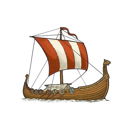 Ilustración de Drakkar floating on the sea waves. Hand drawn design element sailing ship. Vintage vector color engraving illustration. Isolated on white background for poster, label, postmark. - Imagen libre de derechos