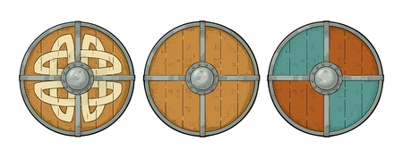 Illustration pour Set wood round shields with viking runes and iron border. Vintage vector color engraving illustration. Isolated on white background. Hand drawn design element for poster, label, tattoo - image libre de droit
