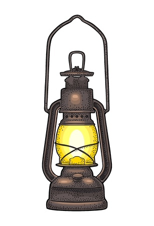 Ilustración de Antique retro gas lamp. Vintage color engraving illustration for poster, web Isolated on white background. - Imagen libre de derechos