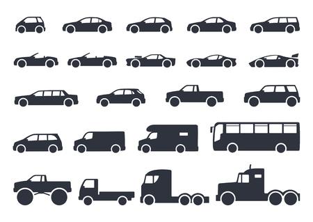Ilustración de Car type icons set. Vector black illustration isolated on white background with shadow. Variants of model automobile body silhouette for web - Imagen libre de derechos
